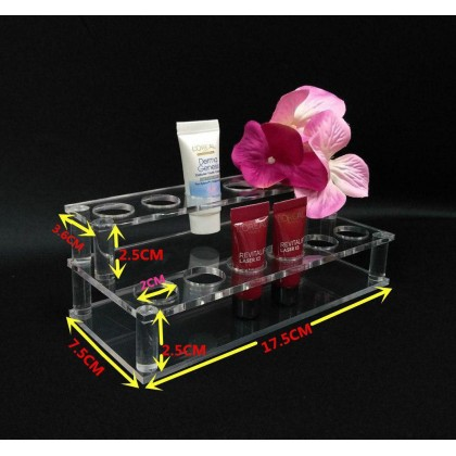 PlatMart -2 LAYER ARCYLIC LIPSTICK DISPLAY STAND-12  HOLES BeautyLand Clear Acrylic Cosmetic Storage Display Stand Holder Cosmetic Storage Make Up Rack Organizer Make up Case Box Container 20-804