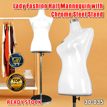 PlatMart - Lady Fashion Half Mannequin with Chome Steel Stand 30-035