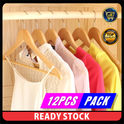 PlatMart -  [READY STOCK] 12 pcs High Quality Korean Style Boutique Solid Wooden Clothes Hanger