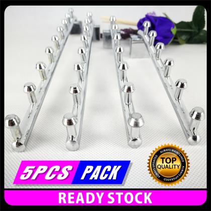 PlatMart - [READY STOCK] 5 pcs Hanger Waterfall Besi   Square bar hook hanger divider balls (Chrome)