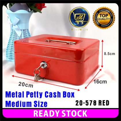 PlatMart - [READY STOCK] S & M Size Metal Petty Cash Box Lock Bank with Tray for Safe Money Coins Bill Key Security