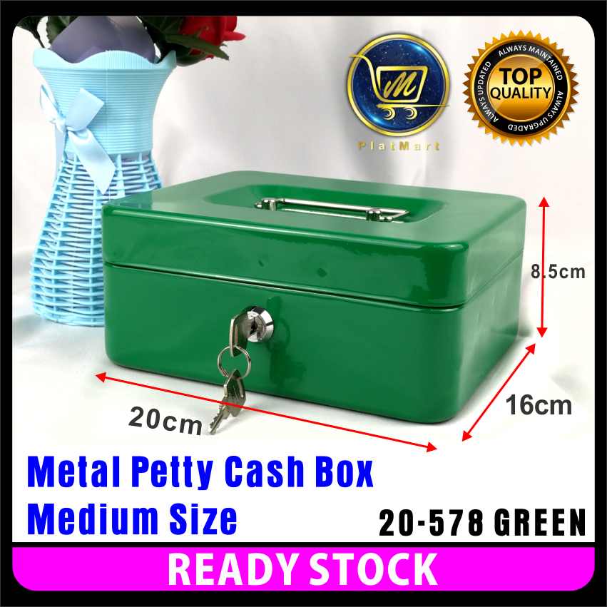 "5/"" GREEN Petty Cash Money Safe Box Deposit with 2 Keys"