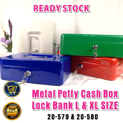 PlatMart - [READY STOCK] L & XL Size Metal Petty Cash Box Lock Bank with Tray for Safe Money Coins Bill Key Security