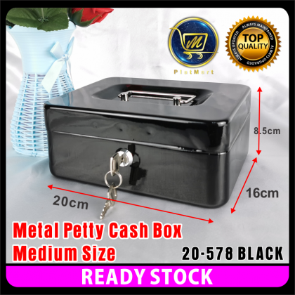 PlatMart - [READY STOCK] Black Colour S,M,L,XL Size Metal Petty Cash Box Lock Bank with Tray for Safe Money Coins Bill Key Security