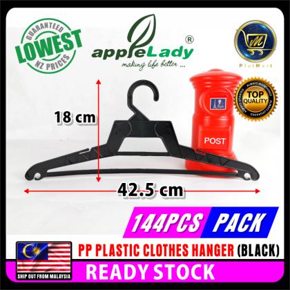 PlatMart - [READY STOCK] 144 PCS PP PLASTIC CLOTHES HANGER (BLACK) 82-001-24