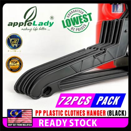PlatMart - [READY STOCK] 72 PCS PP PLASTIC CLOTHES HANGER (BLACK) 82-001-12