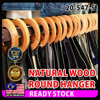 PlatMart - [READY STOCK] 5 pcs NATURAL WOOD JEANS, TUDUNG, CLOTHES ROUND HANGER 20-547-5