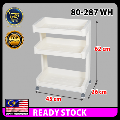 PlatMart - [READY STOCK] Felton 3 Tier Trolley Rack / Bathroom Storage Rack / Trolley Rack / Kitchen Trolley Rack 80-287