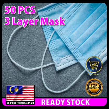 PlatMart - [READY STOCK ! 现货 !] Shipped every day ! 50pcs Face Mask Disposable Earloop 3ply Face Masks