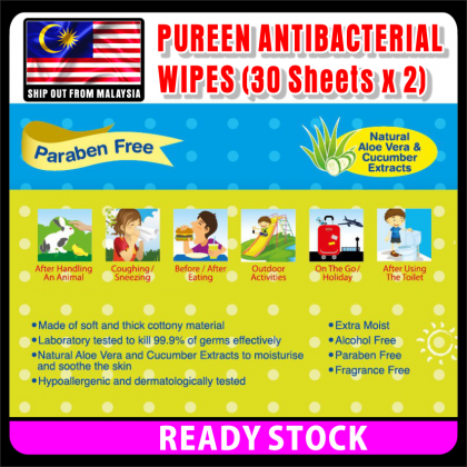 PlatMart - [READY STOCK] 60 SHEETS PUREEN ANTIBACTERIAL WIPES 09-103
