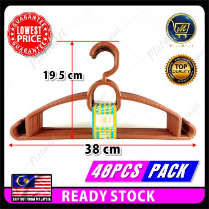 PlatMart - [READY STOCK] 48 PCS PP PLASTIC CLOTHES HANGER (Random Color) 82-140-4