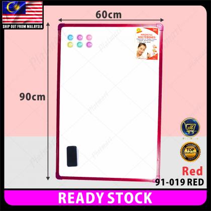 PlatMart - [READY STOCK] 60 x 90cm Plastic Colourful Frame Magnetic White Board 91-019