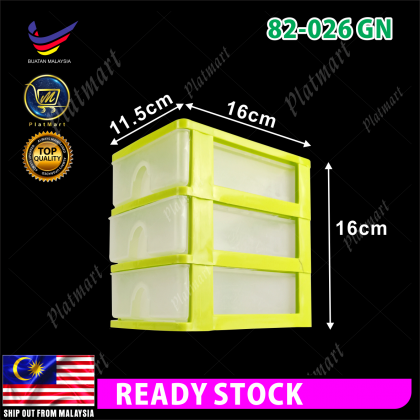 PlatMart - [READY STOCK] 3/4/5 Tier APPLE LADY Mini Drawer Storage Box, Office Stationery Storage Box 82-026,82-006,82-007