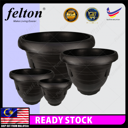 PlatMart - [READY STOCK] FELTON 21/28/33/43cm Round Flower Pot With Hole - Dark Brown