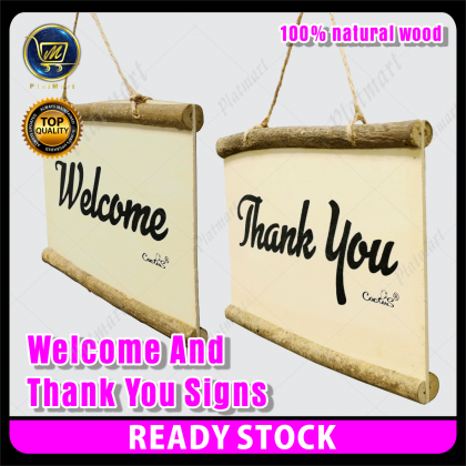 PlatMart - [READY STOCK] 100% Natural Wood [Welcome & Thank You][Open And Closed] Signs